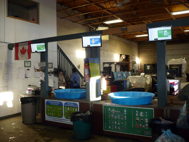 Electronic displays are just one feature that ensures an honest count at Leduc Bottle Depot