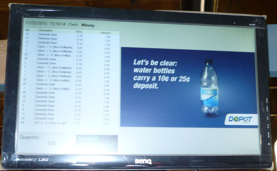 A list of the returned recyclables appears on an electronic display giving you peace of mind at Leduc Bottle Depot