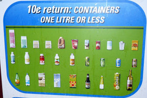 A poster with various beverage containers illustrate what items are worth 10 cents from Leduc Bottle Depot