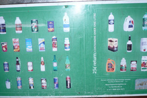 Images of different types of beverage containers in a Leduc Bottle Depot Return Chart